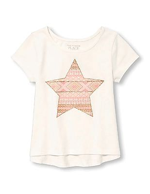 The Children's Place Toddler Girl Short Sleeve Glitter Graphic Top