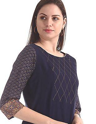 Karigari Blue Printed Sleeve Woven Kurta