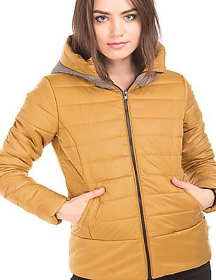 Flying Machine Women Quilted Hooded Jacket