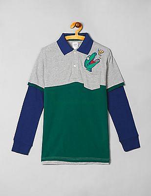 GAP Boys Colourblocked Doctor Sleeve Polo Shirt