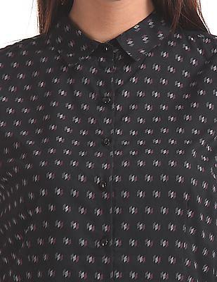 Cherokee Printed Spread Collar Shirt