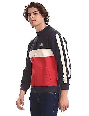 Flying Machine Red Regular Fit Colour Blocked Sweatshirt