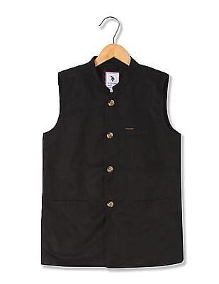 U.S. Polo Assn. Kids Boys Solid Nehru Jacket