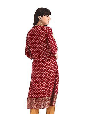 Anahi Red Printed Kalidar Kurta