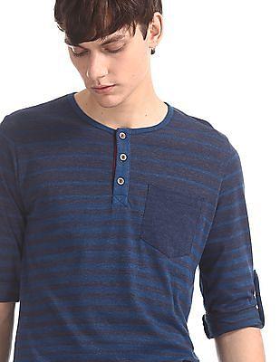 Cherokee Blue Patch Pocket Striped Henley T-Shirt