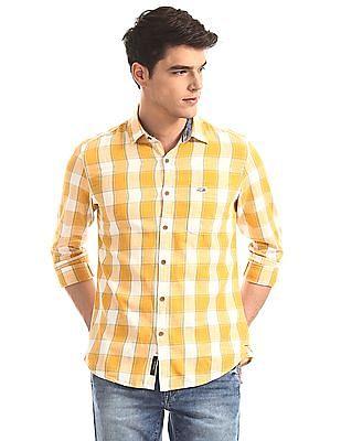 U.S. Polo Assn. Denim Co. Yellow Spread Collar Check Shirt