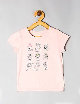 GAP Pink Toddler Girl Graphic Short Sleeve T-Shirt