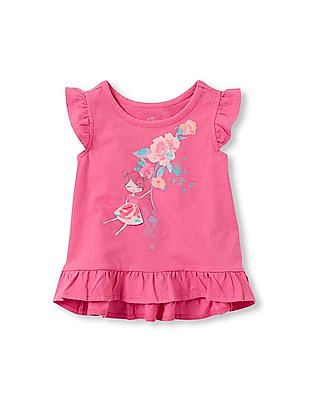 The Children's Place Toddler Girl Short Sleeve Graphic Ruffle Peplum Top