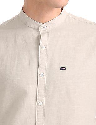 Arrow Sports Slim Fit Mandarin Collar Shirt