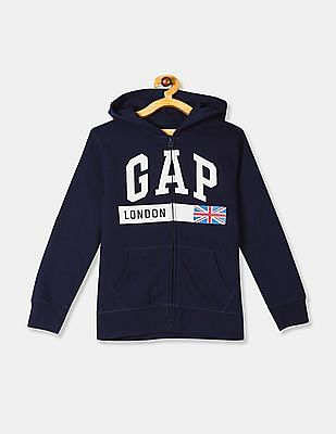 GAP Blue Boys City Graphic Hooded Sweatshirt