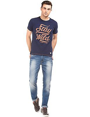 Flying Machine Distressed Slim Tapered Jeans