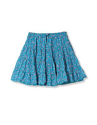 Cherokee Girls Floral Print Tiered Skirt