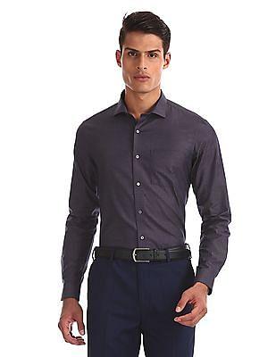 Arrow Newyork Purple Cutaway Collar Tonal Check Shirt