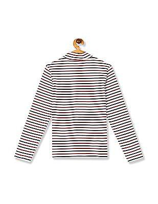 U.S. Polo Assn. Kids White Girls Turtle Neck Stripe T-Shirt