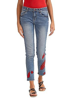 Cherokee Slim Fit Embroidered Jeans