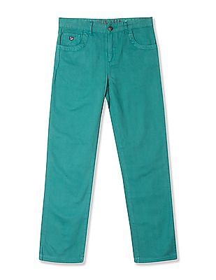 U.S. Polo Assn. Kids Boys Solid Cotton Twill Trousers