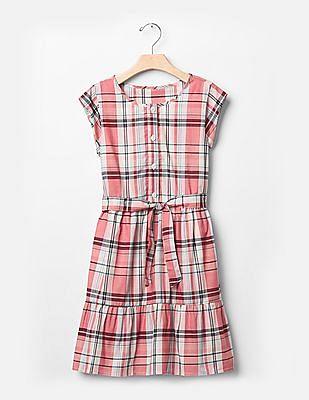 GAP Girls Red Plaid Tier Dress