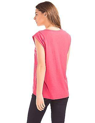 GAP Women Pink Foil Print Cap Sleeve Tee