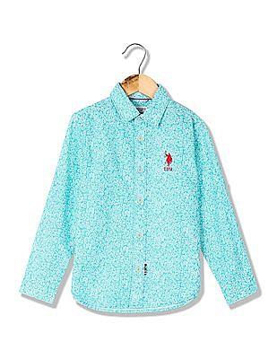U.S. Polo Assn. Kids Boys Regular Fit Floral Print Shirt