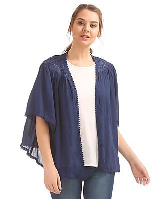 SUGR Lace Panel Open Front Shrug