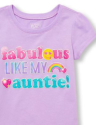 The Children's Place Toddler Girl Short Sleeve Glitter 'Fabulous Like My Auntie' Emoji Graphic Tee