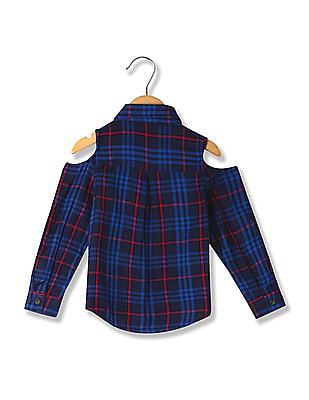 Cherokee Girls Checked Cold Shoulder Shirt