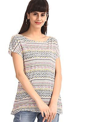 Cherokee White Extended Shoulder Printed Top