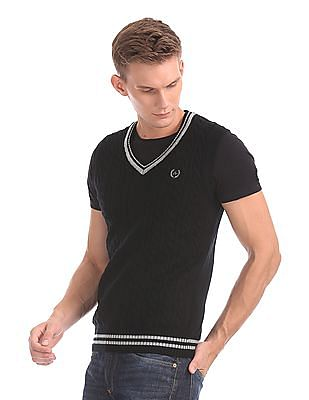 Arrow Sports Sleeveless Cable Knit Sweater