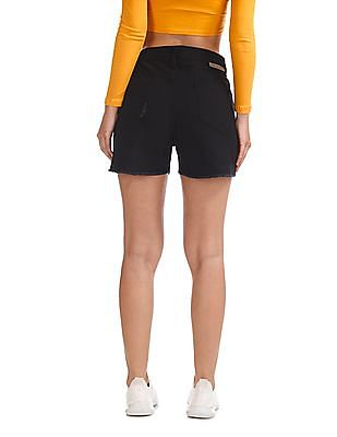Flying Machine Women High Rise Distressed Denim Shorts