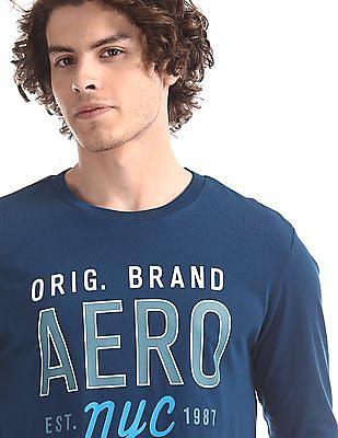 Aeropostale Blue Regular Fit Brand Print T-Shirt