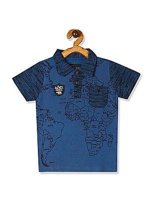 Cherokee Blue Boys Printed Polo Shirt