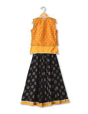 Karigari Girls Skirt Top And Waistcoat Set