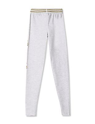Cherokee Grey Girls Metallic Waistband Leggings