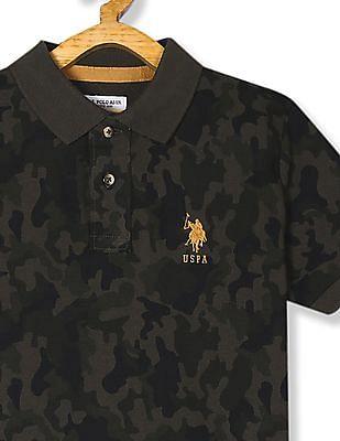 U.S. Polo Assn. Kids Green Boys Camo Print Pique Polo Shirt