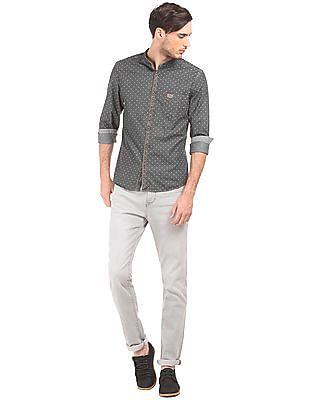 U.S. Polo Assn. Denim Co. Dot Print Slim Fit Chambray Shirt