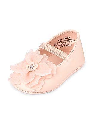 The Children's Place Baby Girls Pink Flower Ballet Flat