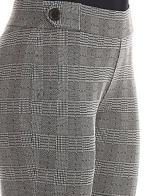 Elle Studio Black Patterned Knit Mid Rise Trousers