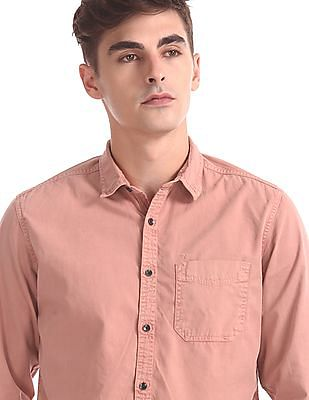 Flying Machine Regular Fit Solid Collar Shirt