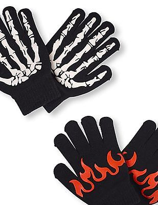 The Children's Place Boys Glow In The Dark Skeleton And Flame Gloves 2-Pack