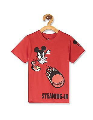 Colt Red Boys Mickey Mouse Print Crew Neck T-Shirt