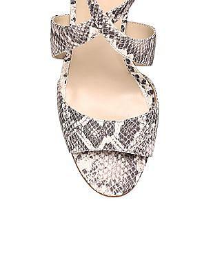 Johnston & Murphy Snakeskin Texture Peep Toe Stilettos