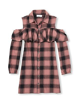 The Children's Place Girls Cold Shoulder Plaid Shirt Dress