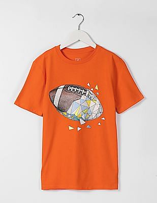 GAP Boys Orange Printed Crew Neck Tee