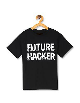 The Children's Place Boys Black Short Sleeve Glow-In-The-Dark 'Future Hacker' Graphic Tee