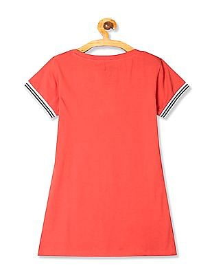 Flying Machine Women Red Printed Front Tipped T-Shirt