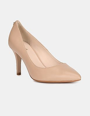 Cole Haan Women Beige Pointed Toe Logo Pumps