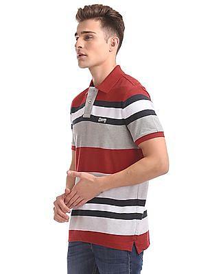 Aeropostale Striped Short Sleeve Polo Shirt