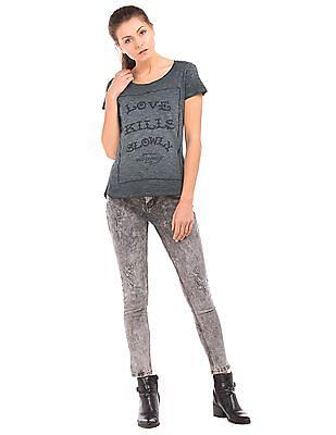 EdHardy Women Rubber Print Heathered T-Shirt