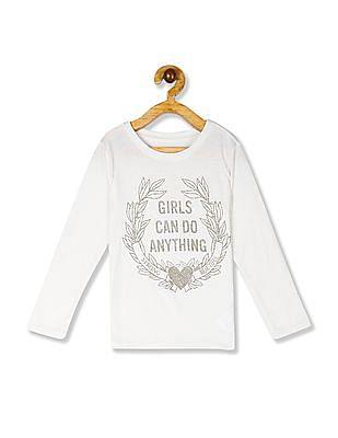 The Children's Place White Girls Ribbed Neck Glitter Print T-Shirt