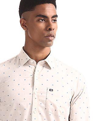 Arrow Sports Beige Semi Cutaway Collar Printed Shirt